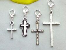 Charms Anhänger KREUZ Karabiner 925 Silber Charm Religion Kruzifix Jesus Armband