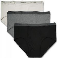 Big Men's Underwear Cotton BRIEFS 3-Pack 3XL - 9XL Black Gray White Hanes #1224