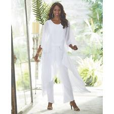 Ashro White Summer Beach Dinner Cruise Party Lorna Pant Set Size M L XL 1X 2X