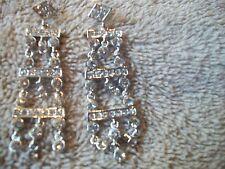 NOLAN MILLER Earrings DAZZLING DANGLE Silvertone & Clear Austrian Crystals NEW