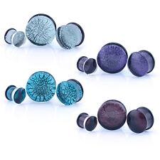 Dicroico cristal Ear tapones Pyrex Craquelado-blue/aqua, Rosa, Morado & clear/silver