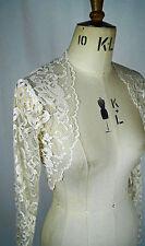 Baylis Knight French Lace Cream Nude CAFE LATTE Long Sleeve BOLERO WEDDING Shrug