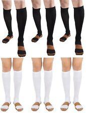 BL/WH 6 Pair Copper Compression Support Socks 20-30 mmHg Graduated Men's Women's