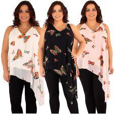 New Womens Butterfly Print Uneven Dip Hem Chiffon Lined Jersey Tops 16-22