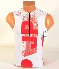 K-Swiss Kwick Dri Japan White & Red 1/2 Zip Sleeveless Cycling Jersey Mens NWT