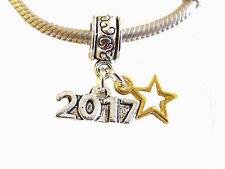 Silver Tone 2017 Graduation Gold Star Celebration Dangle Clip Charm fits Chains