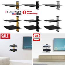 2 Tier Dual Glas Regal Wandhalterung unter TV Kabelbox Komponente DVR DVD Halter...