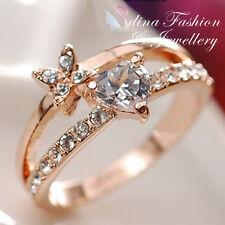 18K White & Rose Gold Plated Simulated Diamond Flower Heart Ring