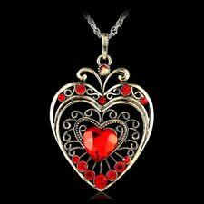 Retro Crystal Heart Necklace Pendant Sweater Chain Rhinestone Women Retro Gift