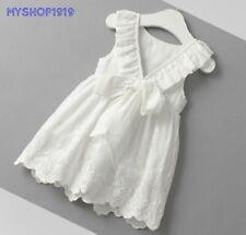 Girls Dress Summer Cotton Sleeveless White Toddler Dresses Age 2 3 4 5 6 years