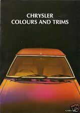 CHRYSLER COLORI E FINITURE 1978-79 UK Mercato PIEGA BROCHURE Avenger Sunbeam Alpine