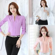 Elegant Women Long Sleeve Chiffon OL Career Slim Shirt Casual Loose Blouse Tops