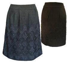 Darling Wool Mix Winter Anya Skirt S-XL UK 10-16 RRP �75 Fitted & Crochet Detail