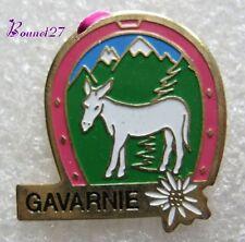 Pin's Paysage Le Cirque de GAVARNIE Fer à cheval Ane Blanc fleur Edelweiss #249