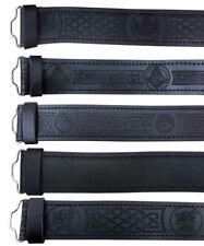 CC Écossais Cuir Noir Ceinture Maçonnique, chardon Plain Kilt ceintures sans boucle