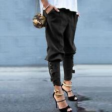 Women's Harem Pants Military Buckle Casual Cotton Blend Slim Trousers Plus Size