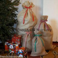 RUSTIC CHRISTMAS HESSIAN SACK Close Weave Jute Gift Bag with Ribbon, Stocking