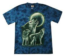 T-Shirt:Heulender Wolf Wölfe+Mond, Gr. L Biker Indianer Tier Cowboy Biker Lobo
