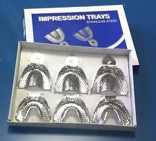Dental para Ortodoncia Acero Inoxidable impresión Bandejas Perforadas Conjunto de 6 CE Nuevo