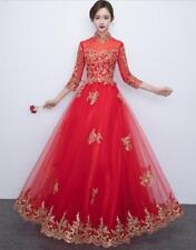 Womens New Cheongsam Wedding Bride Night Embroidery Chinese Long Dress Ball Gown