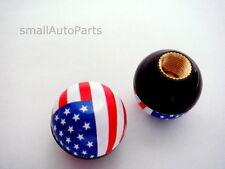2) American USA Flag Ball Tire/Wheel Air Stem VALVE CAPS Motorcycle Bike Bicycle