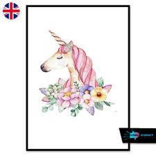 Watercolour Unicorn Poster Print A4 A3 Wall Art Home Decor Fashion Nursery 1453