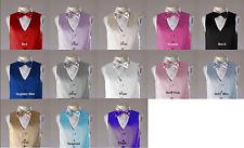 Boys 4pc Satin Vest Set including satin vest, bowtie, tie and hanky
