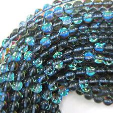 "Blue Rainbow Quartz Round Beads Gemstone 15"" Strand 4mm 6mm 8mm 10mm 12mm"