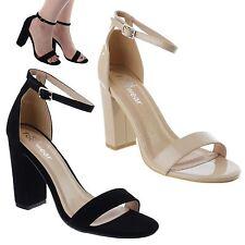 Damen Damen Hoher Blockabsatz Sandalen Peeptoe Knöchelriemen Sandalen Schuhe Größe