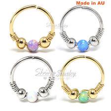 Opal Nose Ring Hoop Beaded Ear Cartilage Helix Tragus Piercing Handmade Earring