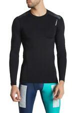 Mens Reebok Wor Compression Long Sleeve Tee Top Fitness Black - AJ3042 NEW
