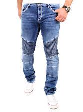 Tazzio Jeans Herren Denim Straight Fit Biker Look Jeanshose TZ-16528 Blau Neu
