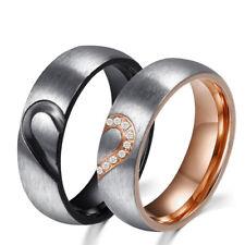 Edelstahl Ring Herz Partner Freundschafts Verlobungs Hochzeits Ringe Elegant