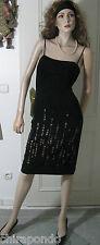BCBG MAXAZRIA Kleid Gr. 34 rassiges Schwarz Leder Pailletten figurbetont sexy