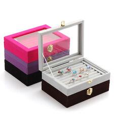 Velvet Jewelry Ring Earring Display Box Tray Holder Organizer Storage Show Case