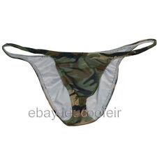 Men's Camo String Briefs Underwear Sexy Bulge Pouch Bikini Brief Skimpy Bottoms