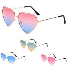 Women Gradient Lens Gold Metal Frame Lolita Heart Shaped Sunglasses Eyewear