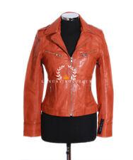 23028e219b0c2 Rachel Orange Ciré Pour Femmes Élégant Rétro Vintage Veste Vrai Cuir De  Mouton