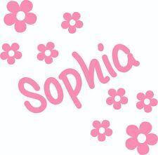 Personalised Name Flowers Wall Sticker Kids Bedroom Custom Vinyl Art Girls NA49