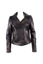Ladies Women's BRANDO Black Fashion Biker Style Soft Leather Rock Jacket