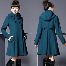 Women's jackets Long double-breasted wool trench coat jacket windbreaker hooded