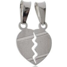 Ciondolo cuore divisibile con righe trasversali in argento 925 Incisione Gratis