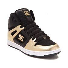 NEW Womens DC Rebound Hi Skate Shoe Black GOLD Metallic Print Shoes