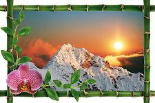 Sticker mural trompe l'oeil déco bambou Montagne couché de soleil réf 989