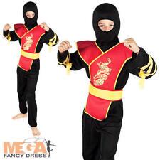 Ninja Master Boys Fancy Dress Japanese Samurai Warrior Kids Child Costume Outfit