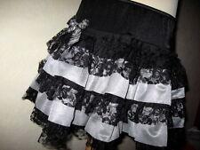New Girls Black white red Grey Stripes Velvet lace Rara Goth Rock Party b Skirt