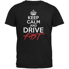 Keep Calm Drive Fast Black Adult T-Shirt