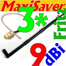 3 x antenna 9dbi e 3 x Pigtail U. Fl WLAN kit di conversione trasformazione per AVM Fritz! BOX 3270