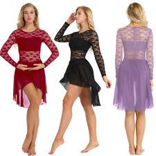 Women Gymnastic Ballet Leotard Dress Floral Lace Chiffon Skirt Bodysuit Costume