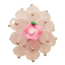 Bague cristal facette ROSE PASTEL fleur fimo réglable Taille 56 58 60 62 64 66